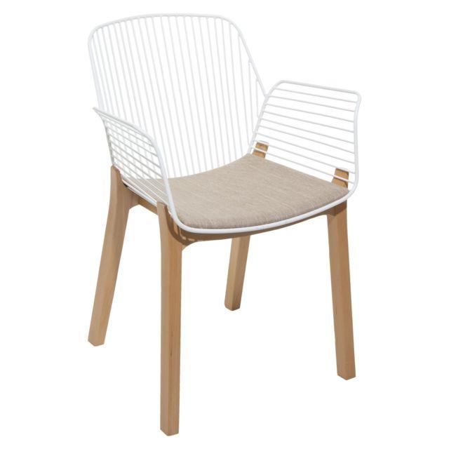 Atmosphera, Createur D'INTERIE Fauteuil design bois et métal Alby - Blanc