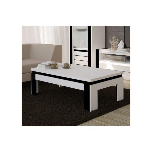 Price Factory Table Basse Design Lina Blanche Et Noire Brillante