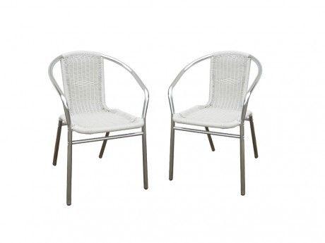 Lot de 2 chaises de jardin en aluminium et résine tressée blanche FIZZ