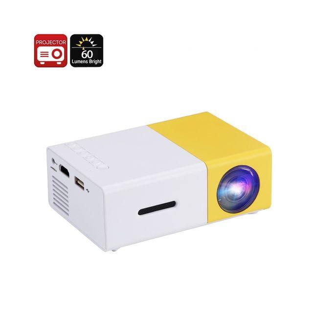 Auto-hightech Mini projecteur Led - 60 Lumen, mise au point manuelle, Led 24W, taille d'image de 60 pouces, Dlp, Led Rvb