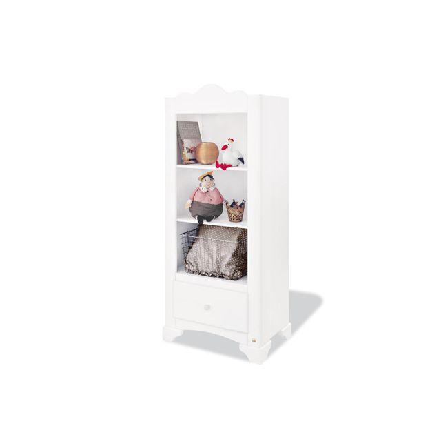 Comforium Bibliothèque design à 2 étagères et 1 tiroir en pin massif coloris blanc