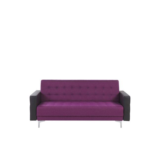 BELIANI Canapé convertible 3 places en tissu violet et simili-cuir noir ABERDEEN - violet