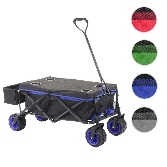 Mendler Chariot pliable Hwc-e62, charette à bras, pneus tout terrain ~ avec recouvrement noir/bleu