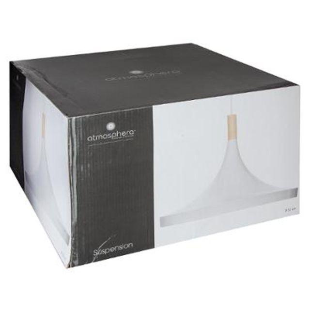 """Paris Prix - Lampe Suspension Design """"Métal & Bois"""" 32cm Blanc"""