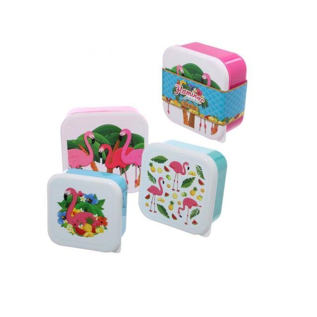 Sans Marque Lot de 3 boîtes repas - Famants-rose