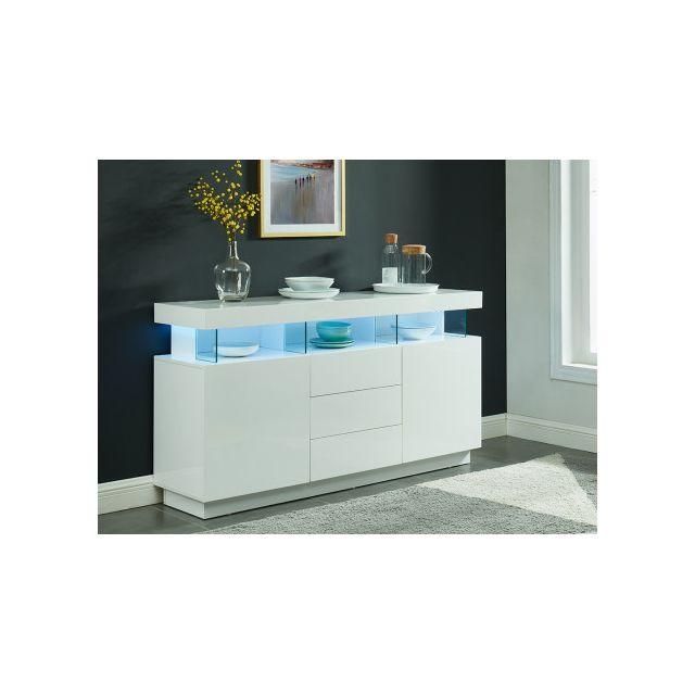 VENTE-UNIQUE Buffet FABIO - MDF laqué blanc - LEDs - 3 tiroirs & 2 portes