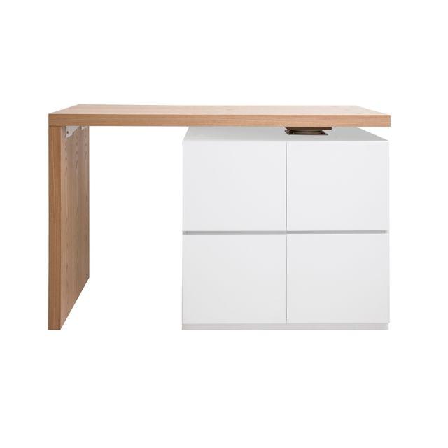 Miliboo Table de bar modulable avec rangement blanc mat et chêne H91 cm Max