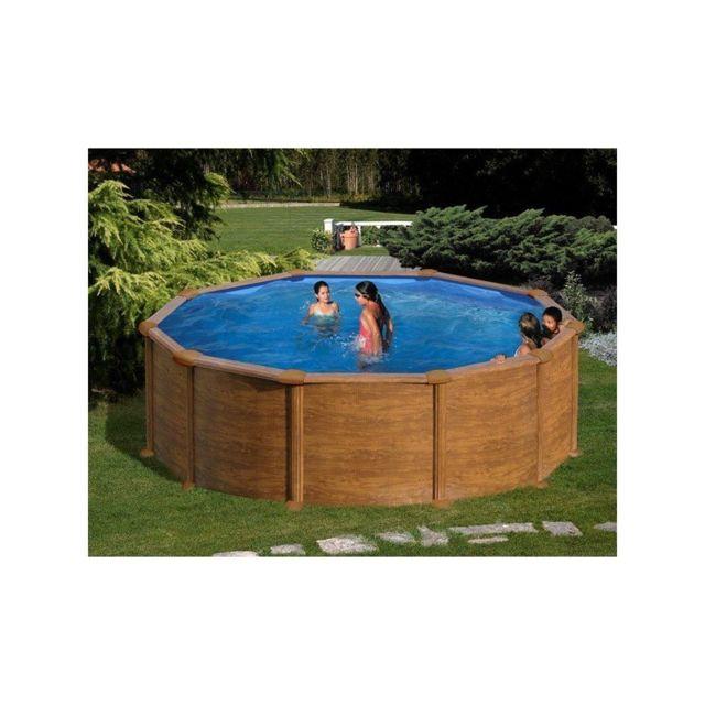 gre pools kit piscine hors sol acier ronde mauritius aspect bois pas cher achat vente. Black Bedroom Furniture Sets. Home Design Ideas