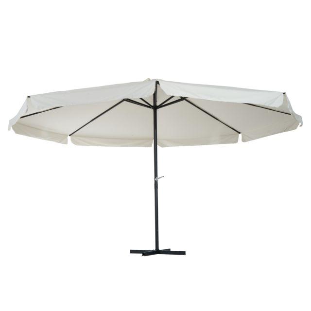 outsunny grand parasol confort diam tre 5 m avec manivelle et pied acier aluminium polyester. Black Bedroom Furniture Sets. Home Design Ideas