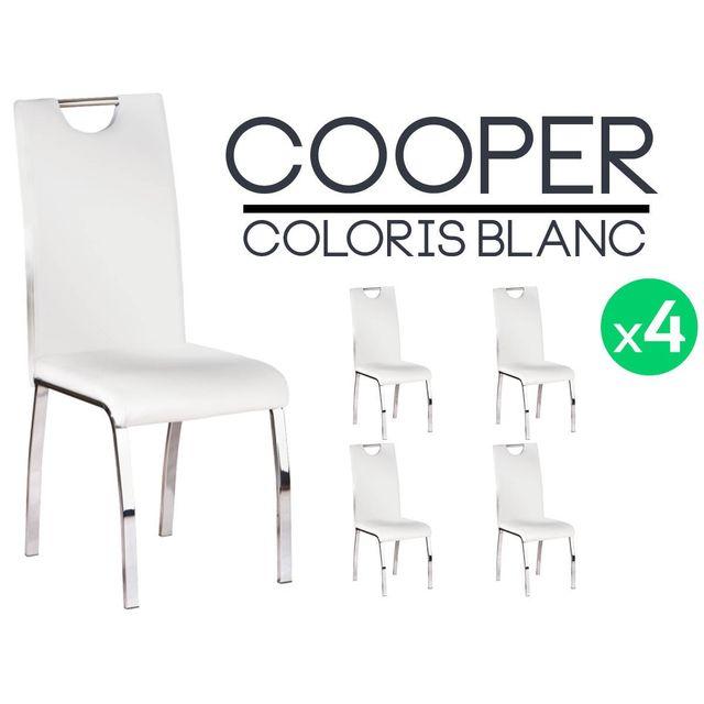 Altobuy Cooper Lot 4 Chaises Blanches Pas Cher Achat Vente