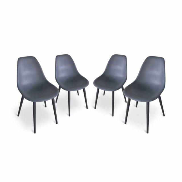 ALICE'S GARDEN Lot de 4 chaises scandinaves PADAR, métal et résine injectée, gris foncé, intérieur/extérieur