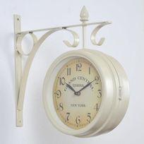 No Name - Station Horloge de gare double face Ø20 cm blanc cassé
