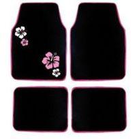 Imdifa - Jeu de 4 tapis moquette noir broderies Hibiscus