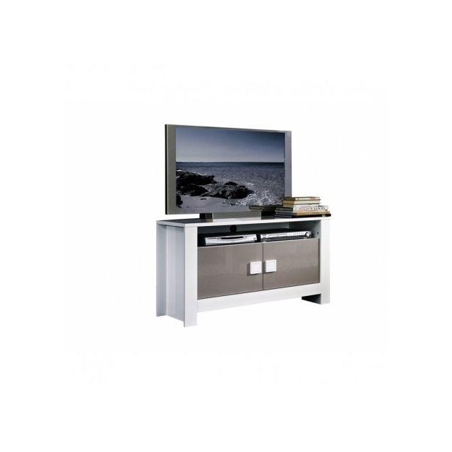 decodesign meuble tv pisa blanc gris blanc metal pas cher achat vente meubles tv hi fi. Black Bedroom Furniture Sets. Home Design Ideas