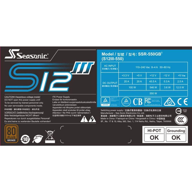 S12III-550 - 550 W - 80 Plus Bronze