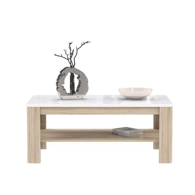 Meubletmoi Table Basse rectangulaire Plateau laqué Blanc et piétement Bois Gris - Collection Alexiane