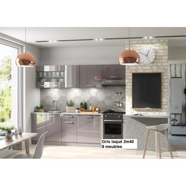 Baltic Meubles Meubles Cuisine complète Dana gris laqué - 2m40 - 8 meubles - Moinschercuisine