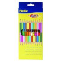 Helix - 12 Crayons De Couleur À Double Pointe 17,78 Cm