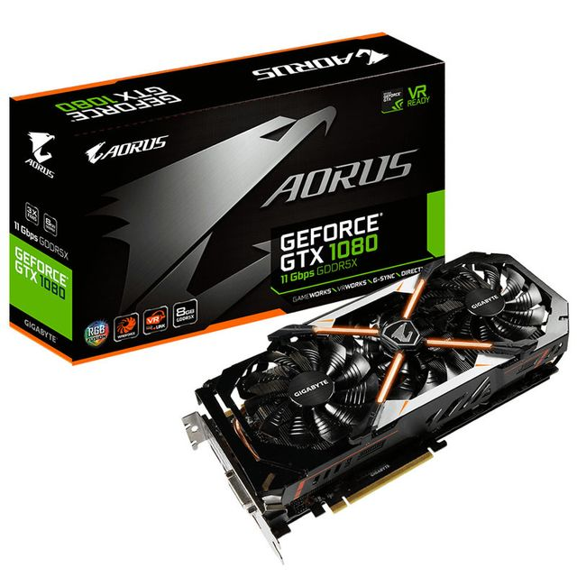 Gigabyte Carte graphique GeForce Gtx 1080 Aorus 8G 11 Gbps, 8192 Mb Gddr5X