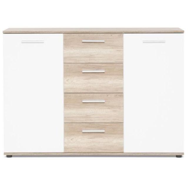 Icaverne BUFFET - BAHUT - ENFILADE JACKY Buffet bas classique décor chene sauvage et blanc mat - L 120 cm