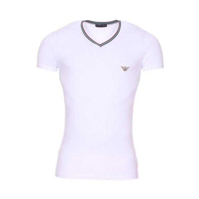 Armani Ea7 - Tee-shirt col V à bande tricolore Emporio Armani en coton  stretch 50c4524c828