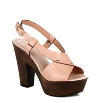 4ever young - Womens Wooden Heel Platform Leather Sandals - Beige-UK 6