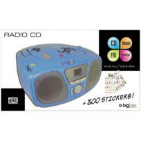 Bigben - Lecteur radio cd portable bleu +300 stickers