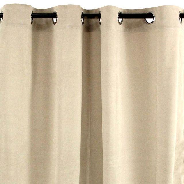 Mon Beau Tapis - Rideau à oeillets en velours écru 140x250cm Velvet Écru