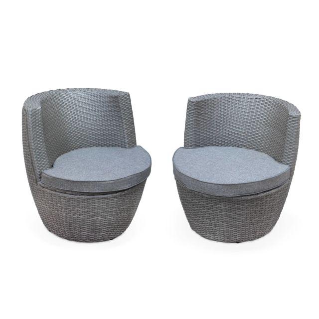 Salon de jardin encastrable et empilable en résine tressée - Bologna -  Gris, coussins gris chiné en acrylique - 4 places - une petite table ronde  et 4 ...