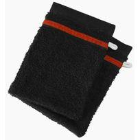 Le Linge De Jules - Lot de 2 gants de toilette 100% Coton - 550 grS/m2 Noir Avec Liserets Rouge
