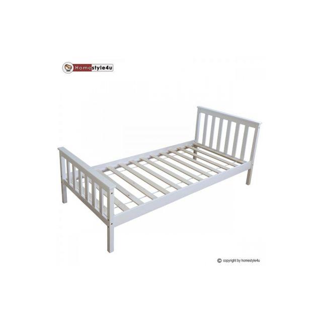Homestyle4U Lit Simple Blanc 90x200 avec pied de lit