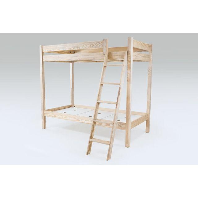 abc meubles lit superpos abc avec chelle inclin e bois vernis naturel 90cm x 190cm pas. Black Bedroom Furniture Sets. Home Design Ideas