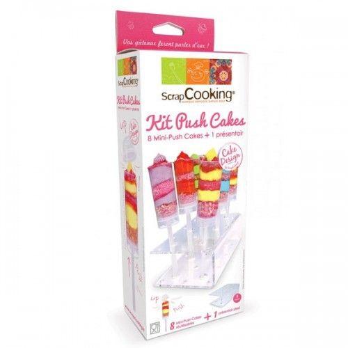 Scrapcooking Kit de mini-push cakes en plastique pour 8 pièces avec présentoir en plastique
