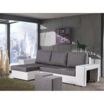Rocambolesk - Canapé d'angle convertible avec poufs gris blanc Naples