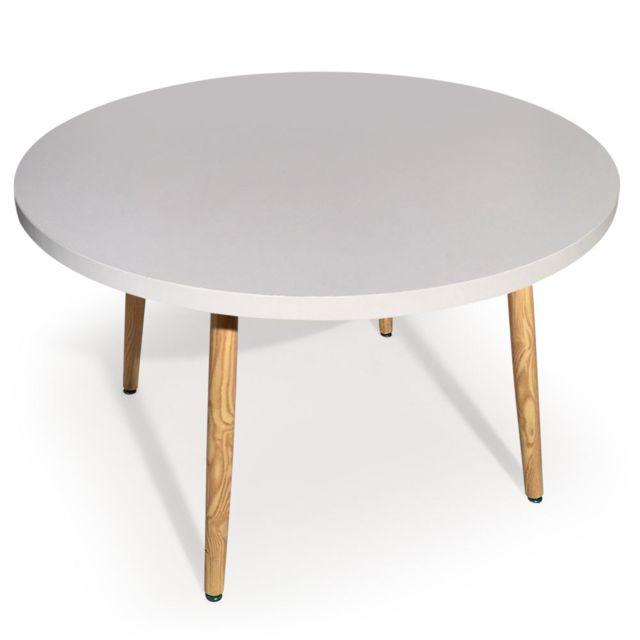 MENZZO Table ronde scandinave Nora Blanc