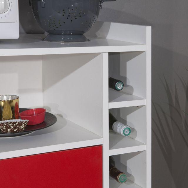Générique - Desserte Micro-Ondes Range-Bouteilles Blanc/Rouge