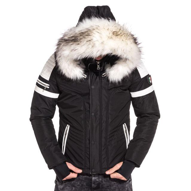 BLZJEANS - Blouson capuche fourrure et empiècement simili cuir blanc.  Couleur   Noir 52ddeb88e59e