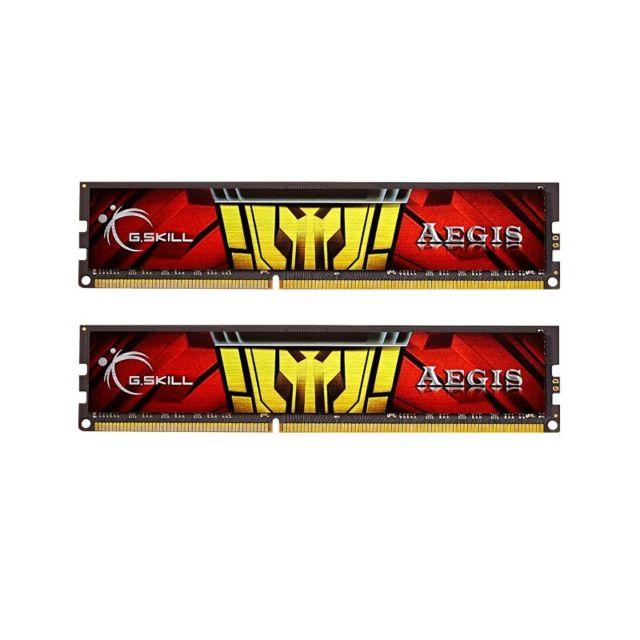 G.SKILL Memoire kit de 2 barrettes Gskill AEGIS DDR3 PC3-10666 - 2 x 8 Go 16Go, 1333 Mhz - CAS 9 Gskill AEGIS DDR3 Series : AEGIS Capacité : 2x8Go (16Go) Fréquence : 1333 Mhz Cas : 9-9-9-24-2NFormat: DIMMVoltage : 1.5 VoltsType : DDR3 Compatible uniquemen