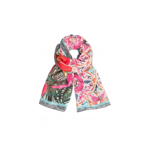 6692a9b42acb Desigual - Rectangle Eixample Tropical, Foulard écharpe imprimé rose  Fuchsia Rose - pas cher Achat   Vente Echarpes, foulards - RueDuCommerce