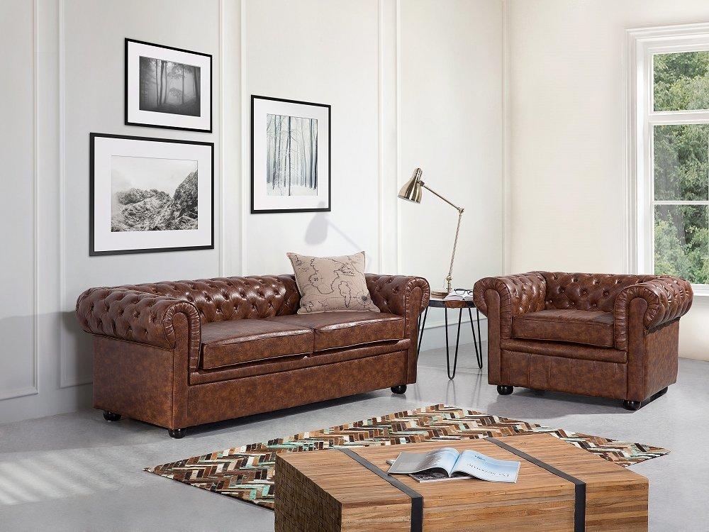 Canapé 2 - 3 places - canapé en cuir marron - sofa Chesterfield Old Style