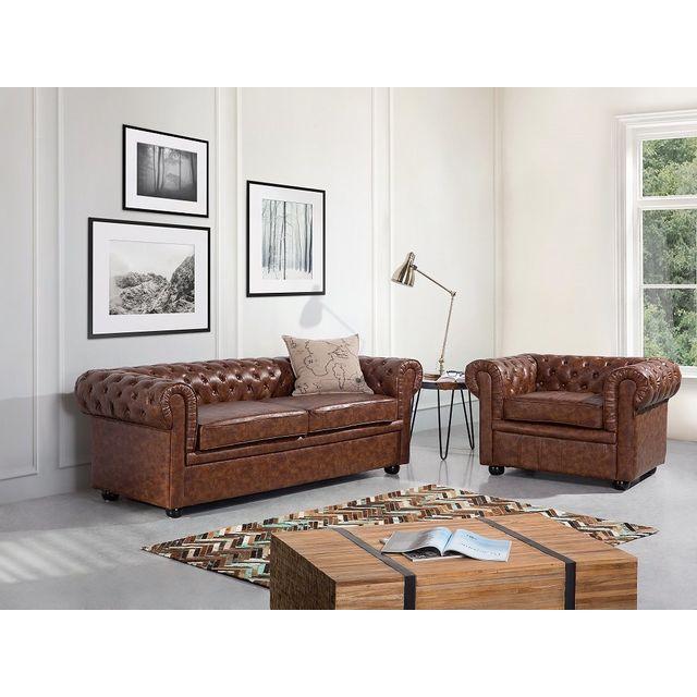 BELIANI - Canapé 2 - 3 places - canapé en cuir marron - sofa ... 7d0d3f31cb1d