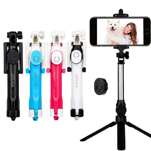 Perche Selfie avec Trepied pour Microsoft Lumia 950 Smartphone Bluetooth  Sans Fil Selfie Stick Android Ios Reglable Telecommande BLEU