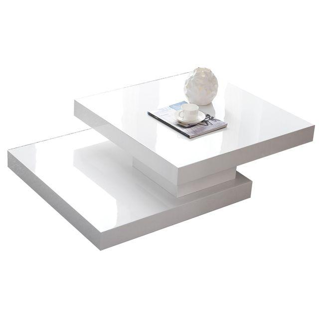 Table basse carrée à plateau pivotant design blanc laqué EDEN