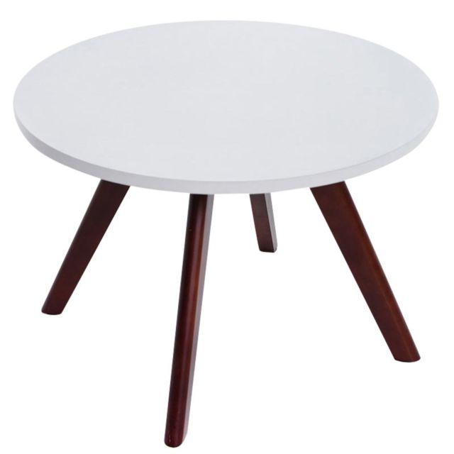 Decoshop26 - Table basse table d\'appoint ronde 4 pieds en bois foncé ...