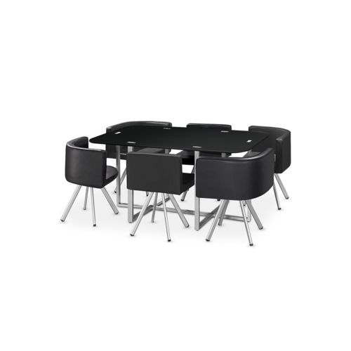 cote cosy table manger verre 6 chaises noir corner xl 90cm x 150cm x 75cm non extensible. Black Bedroom Furniture Sets. Home Design Ideas