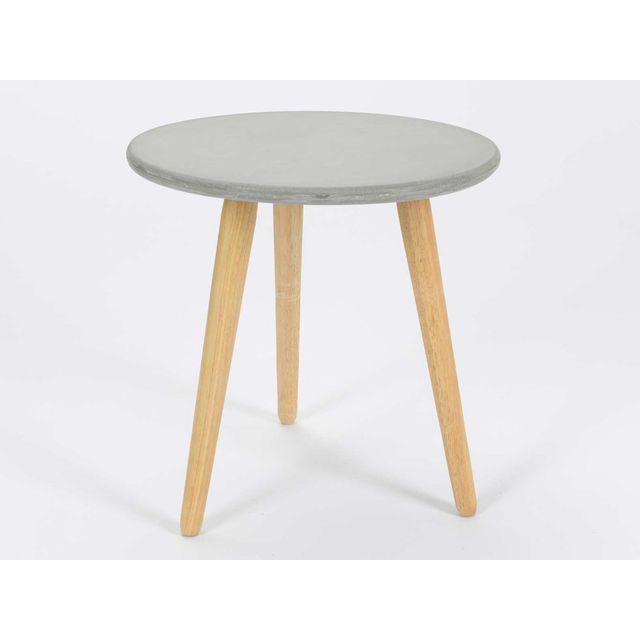 Korb Table d'appoint ronde plateau en ciment et piètement bois D45 cm Granito