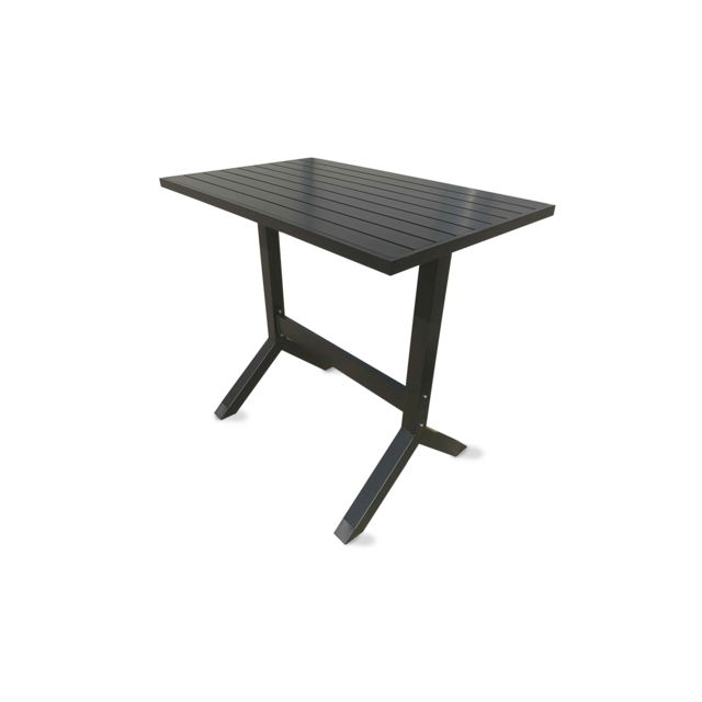 OVIALA - Table haute de jardin en aluminium Gris - pas cher Achat ...