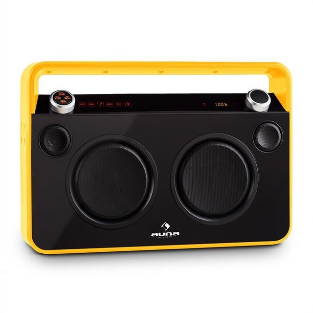 AUNA Bebop Ghettoblaster USB Bluetooth AUX MIC batterie intégrée -jaune