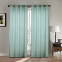 Best Interior - Paire de rideaux aspect lin - turquoise - Dimensions : 140x260