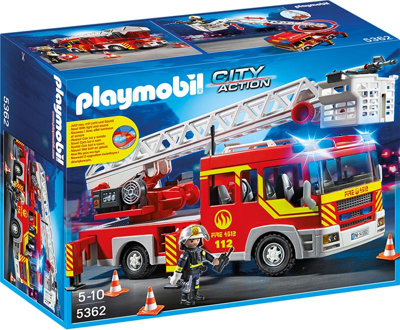 Camion de pompier avec échelle pivotante et sirène - 5362